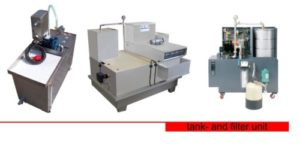 Tank and filter unit systems filter